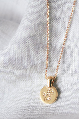 gold coin flower necklace