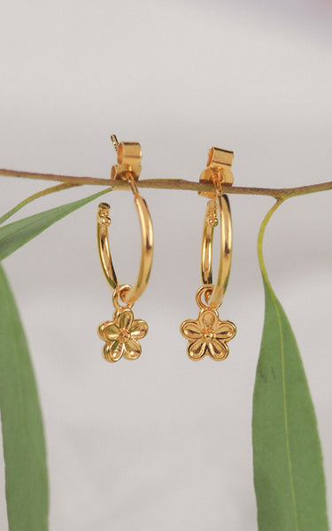 yellow gold blossom flower dangle hoop earrings