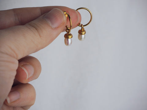 Gold Pearl Acorn Hoop Earrings Rachel Whitehead Jewellery