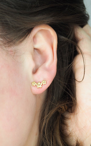 Triple Flower Stud Earrings Gold