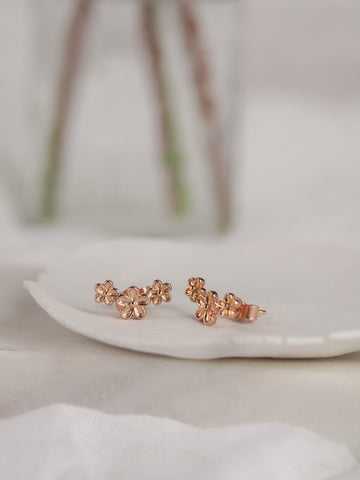 Triple Flower Stud Earrings Rose Gold