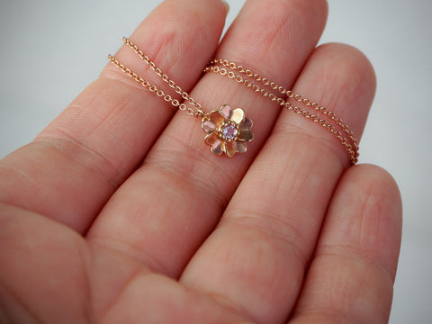 rose gold vermeil wild rose necklace