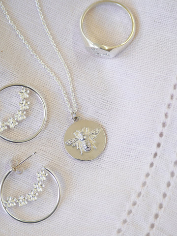 sterling silver bumblebee coin necklace