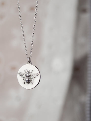 sterling silver bee coin necklace