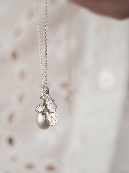 sterling silver pearl acorn necklace