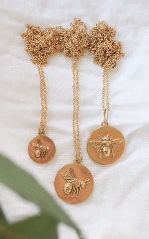 gold bee coin necklaces