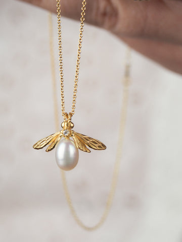 gold vermeil pearl bumblebee necklace