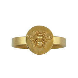 Gold vermeil bumblebee bee coin sovereign signet medallion ring