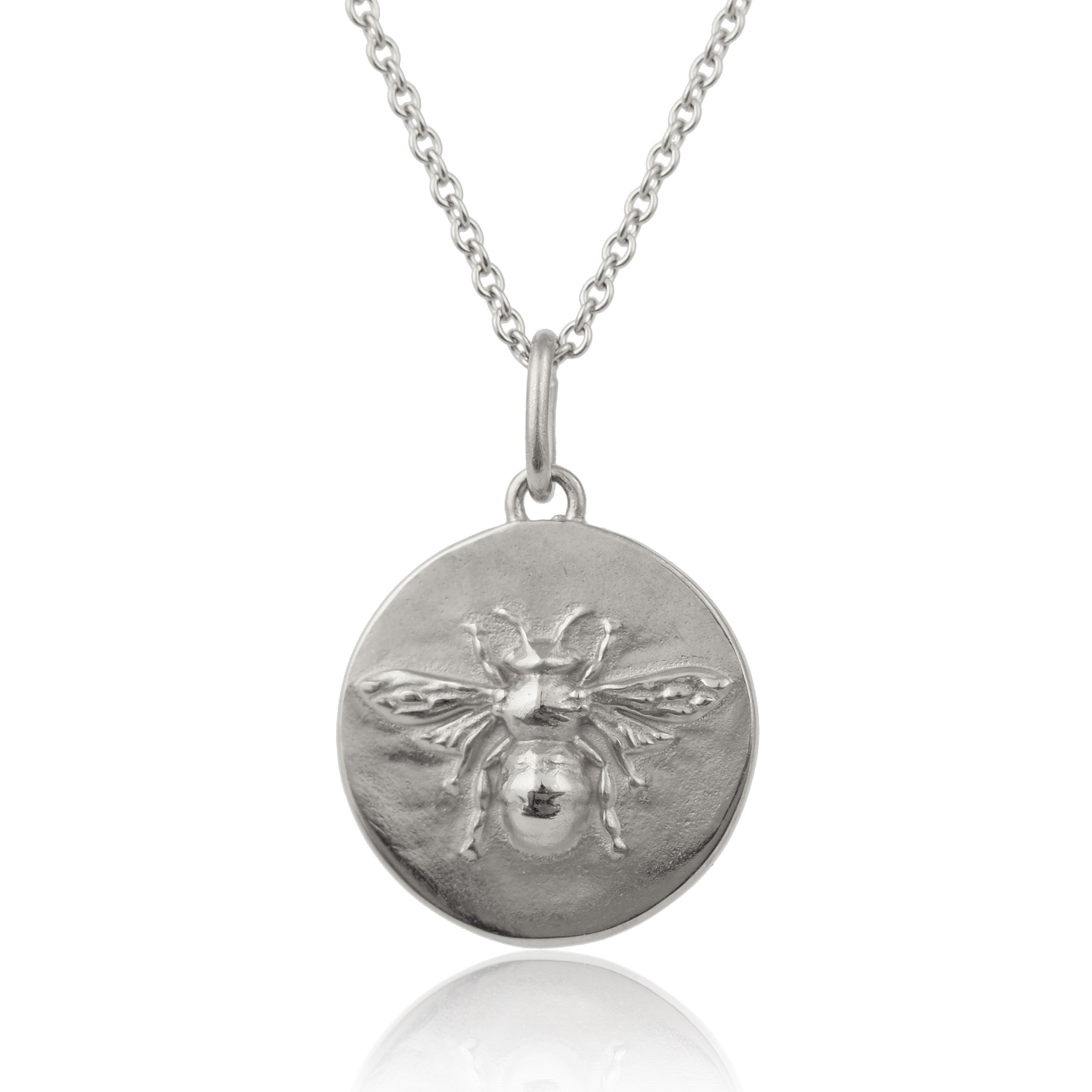 silver bee coin medallion necklace layering