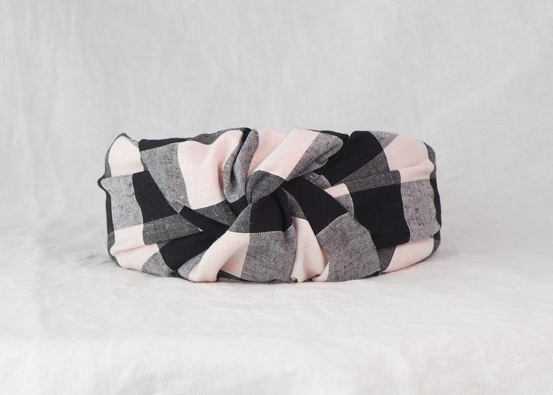 Black and White Gingham Wide Knot Headband