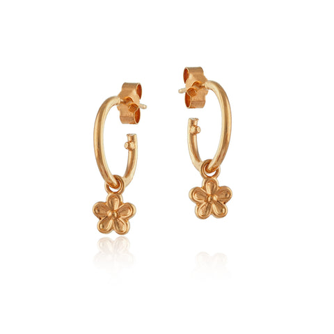 Gold Vermeil Maxi Blossom Flower Hoop Earrings