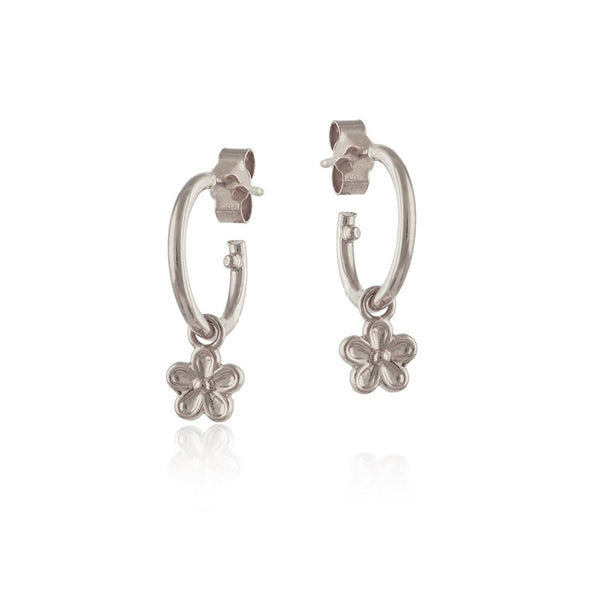 Silver flower blossom dangle hoop earrings