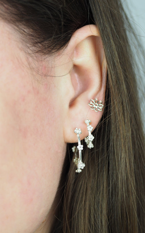 silver small flower blossom hoop earrings