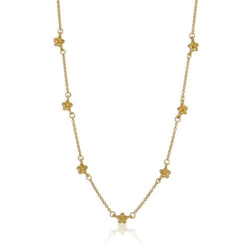 Yellow Gold Vermeil Flower Station Necklace