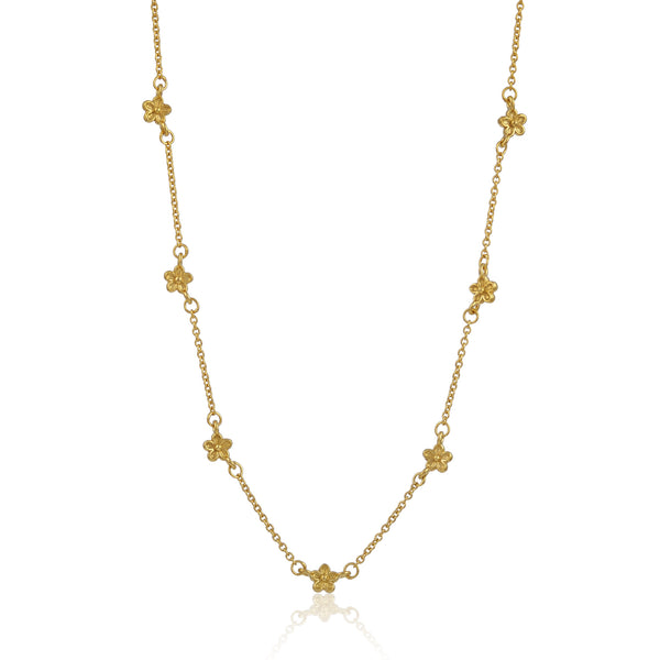 gold flower blossom station dot necklace