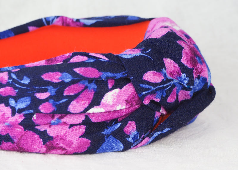 Pink and Blue Winter Florals Headband