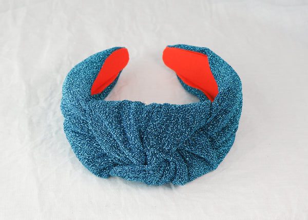 Electric Blue Glitter Knot Headband