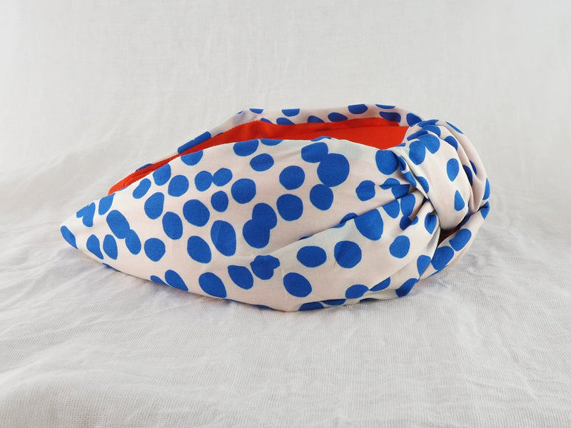 Blue and white polka dot spot wide knot fabric headband