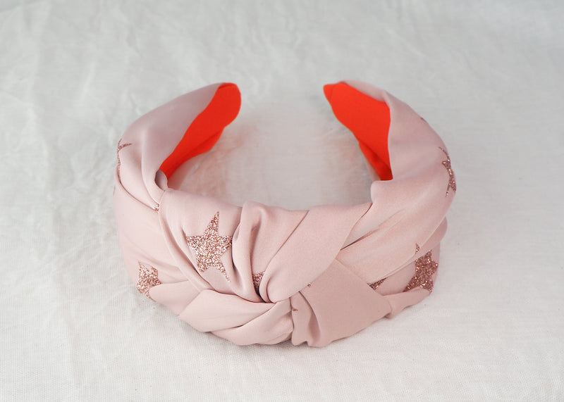 dusty pink wide knotted headband with glitter star print