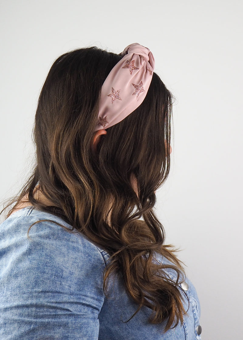 dusty pink wide knotted headband with glitter stars