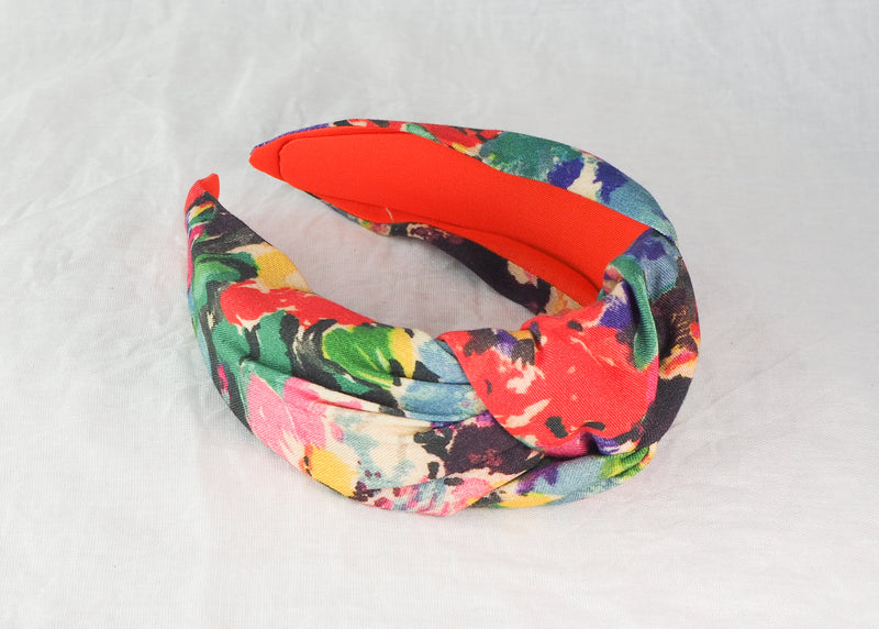 Colourful Abstract Floral Wide Knot Headband