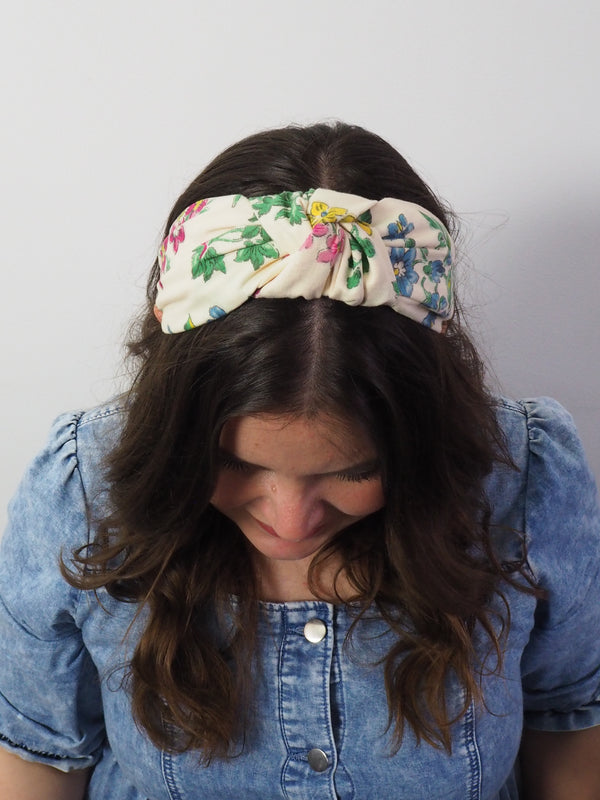 Vintage Cream Floral Wide Knot Headband