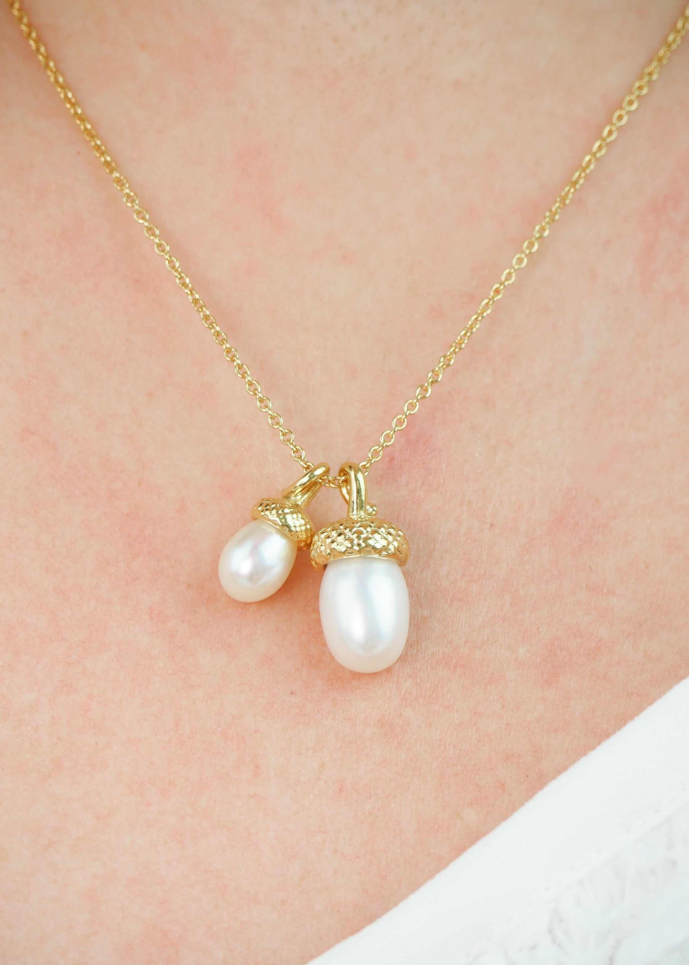 gold pearl acorn necklace