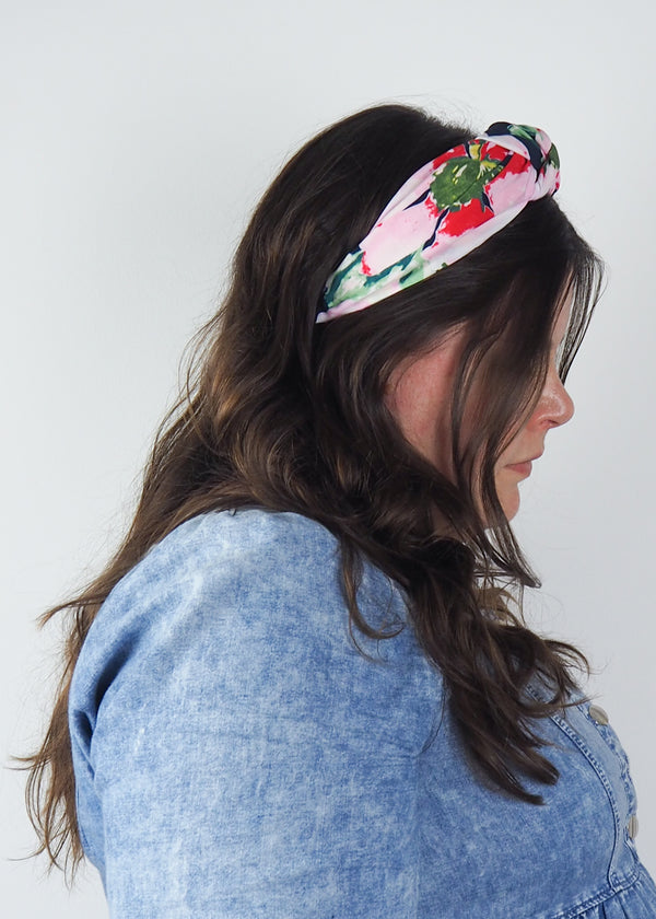navy, green and pink wide knotted headband with abstract floral print