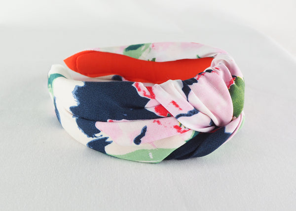 blue pink and green abstract floral wide knotted headband handmade in Bimringham