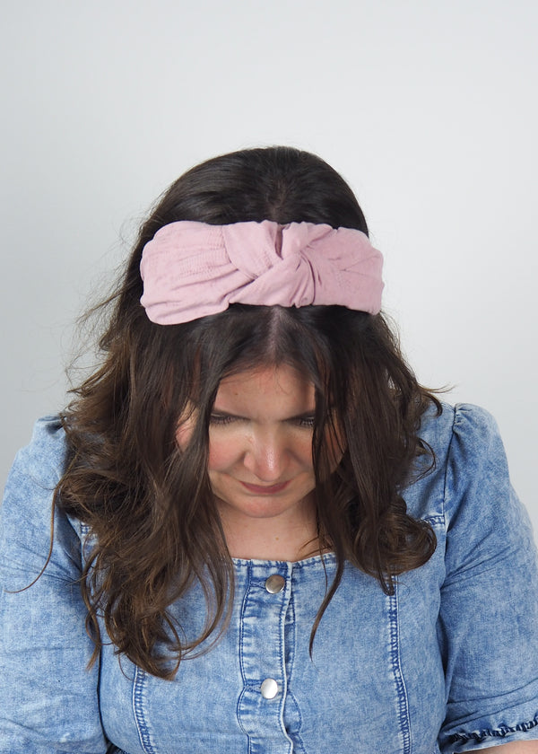 light dusty pink wide headband with a knot handmade in Birmingham