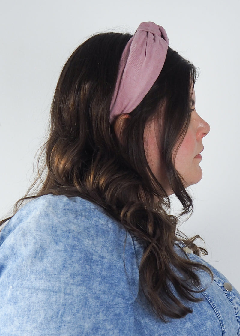 rose pink wide knotted headband made from waffle jacquard fabric in Birmingham