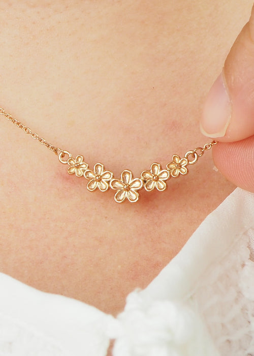 rose gold five flower bar necklace
