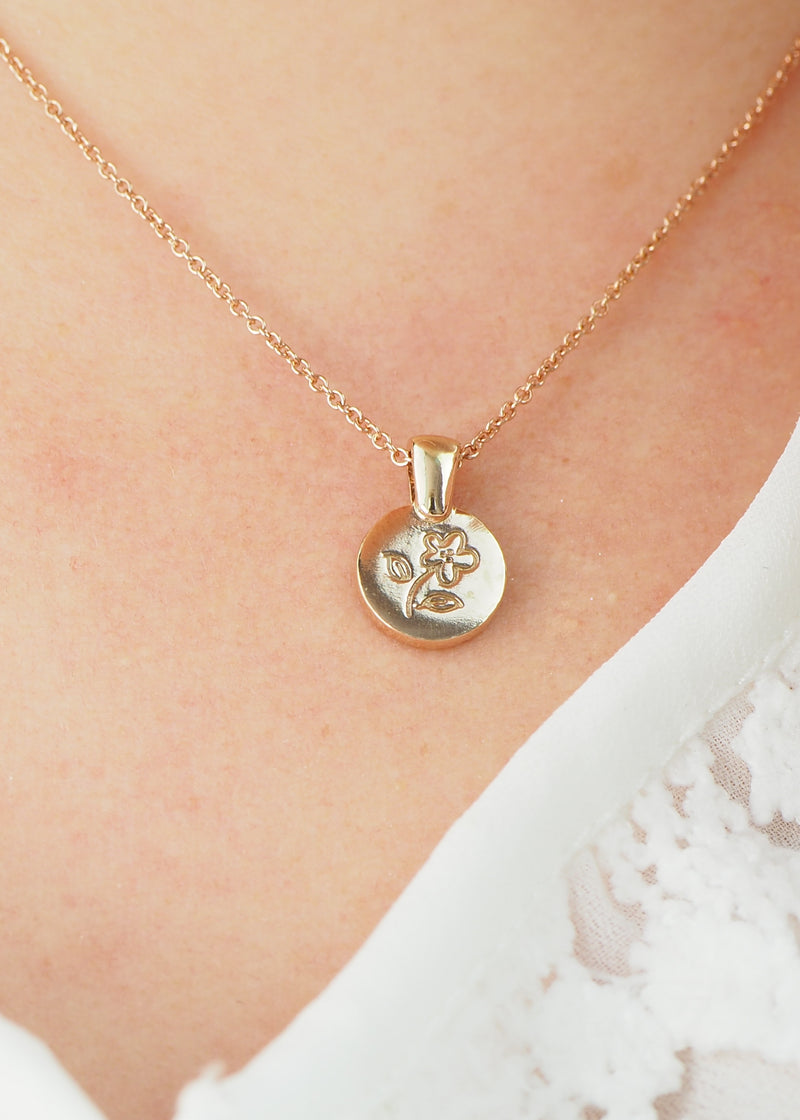 rose gold flower coin necklace