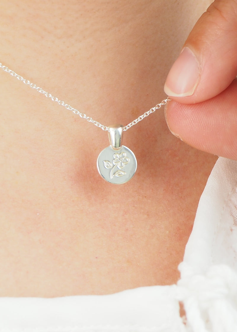 sterling silver flower illustration coin medallion necklace modern love token