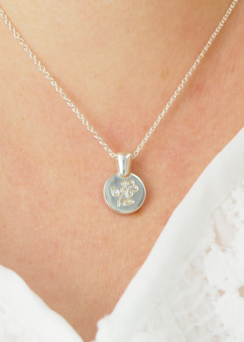 Silver Flower Disk Coin Love Token Necklace