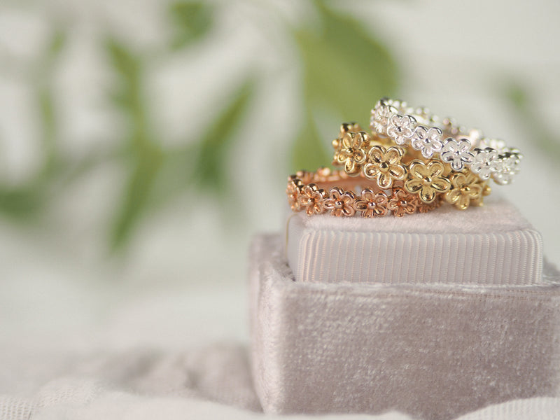 Gold vermeil flower full eternity stacking ring