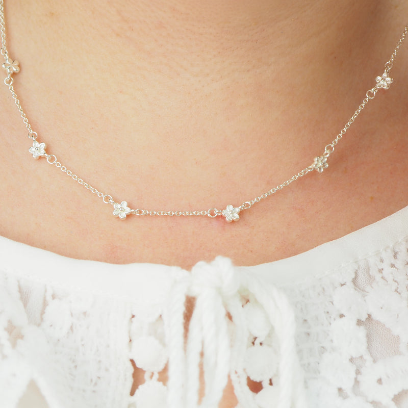 Silver blossom flower station dot layering necklace daisy chain