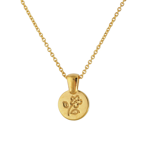 Yellow Gold Vermeil Flower Medallion Necklace