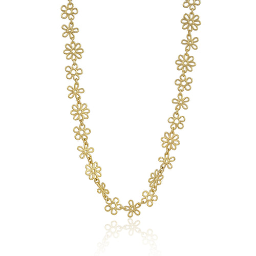 Yellow Gold Vermeil Flower Doodle Necklace