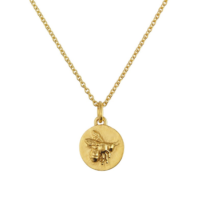 Tiny Gold Flying Bee Coin Necklace