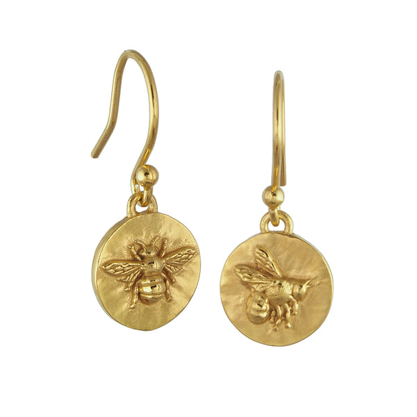 gold vermeil bumblebee coin medallion drop earrings