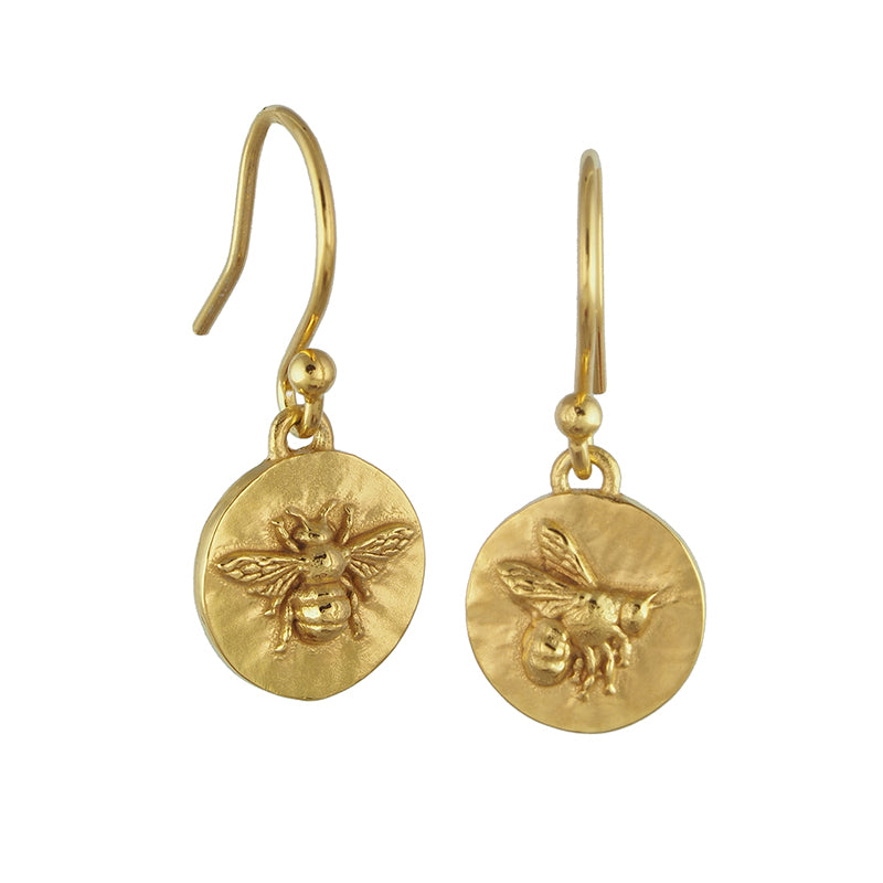 gold vermeil bumblebee coin drop earrings with shepherds hook fixing