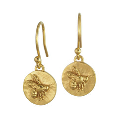 Gold bee bumblebee coin medallion drop earrings