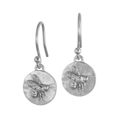 Sterling Silver Flying Bee Coin Earrings