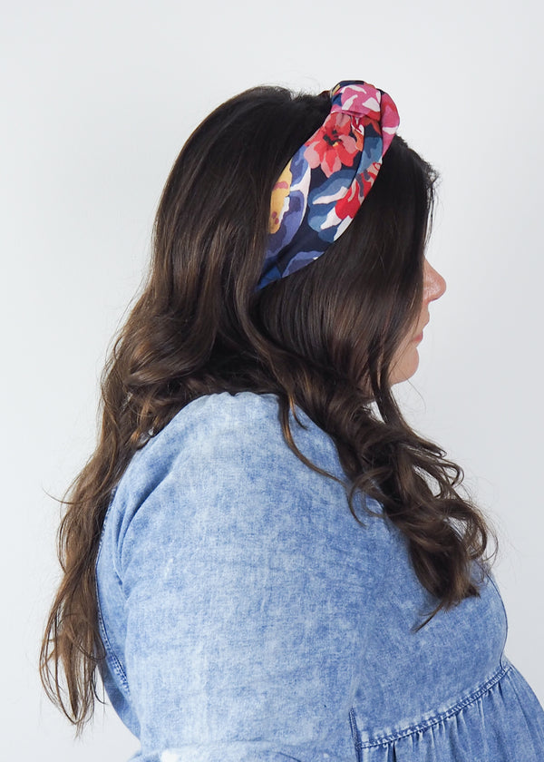 blue red and pink bold floral wide knot headband