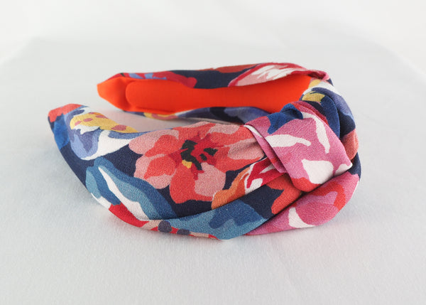 Blue, red and pink floral wide knot headband