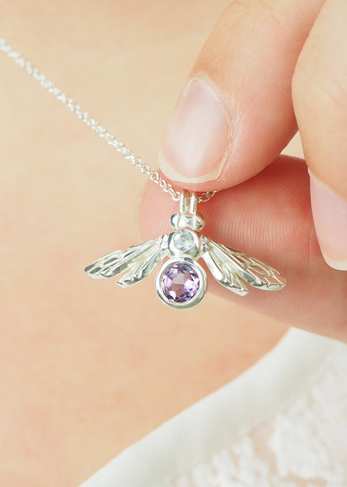 Silver gemstone Bee Necklace With Amethyst