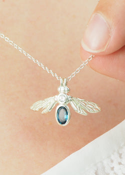 sterling silver pear gemstone bee bumblebee necklace pendant with London blue topaz stone