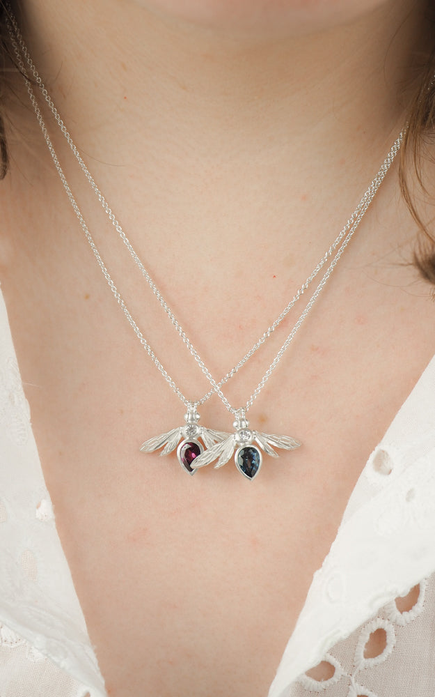 silver London blue topaz gemstone bee necklace