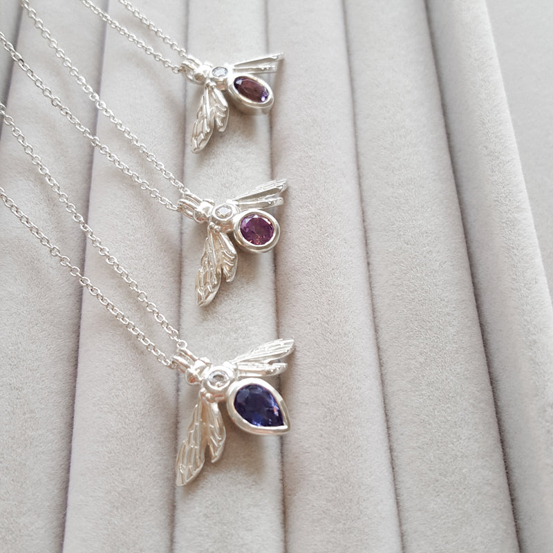 Silver Gemstone Bee Necklace with Amethyst gemstone and White Sapphire